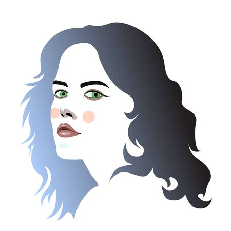 Vector illustration of a girl with a beautiful face