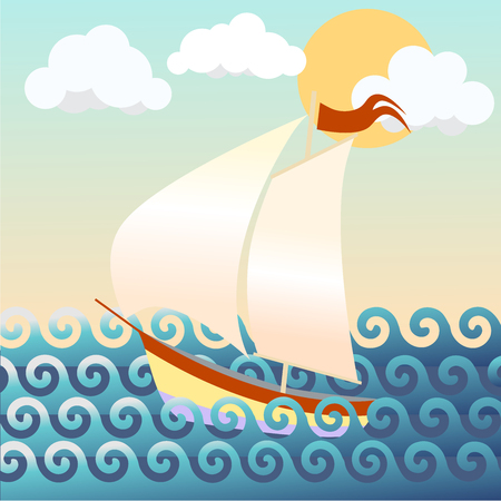 A vector illustration of a ship in the sea.