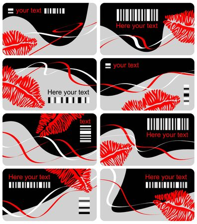 Collection from eight business cards with print lips and imitation bar code