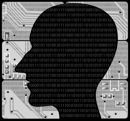 Silhouette human head on background of grey electronic payments photo