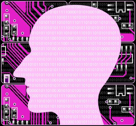 Silhouette human head on background of pink electronic payments photo