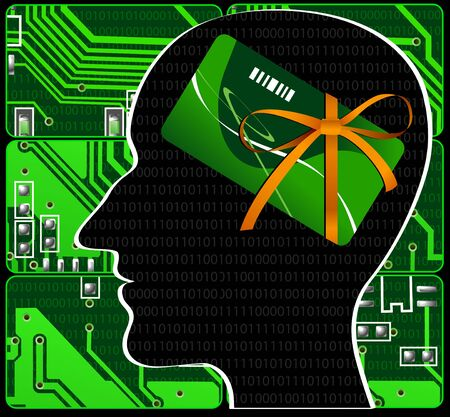 Silhouette human head on background of green electronic payments photo