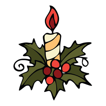 Isolated Vector image of Christmas candle hand drawn doodle