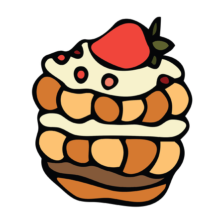Isolated Vector image of multilayer cake with strawberries hand drawn doodle