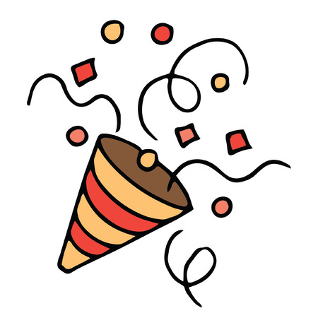 Isolated Vector image of festive party poppers with confetti hand drawn doodle