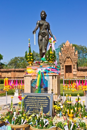 hariphunchai: Monument Chamadevi Queen in Lumphun Stock Photo