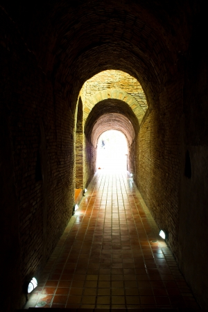 Tunnel in Wat Umong Stock Photo - 16256079