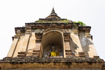 wat jedyod: Isolated - Chedi in Wat Chedyod , Chiangmai Stock Photo