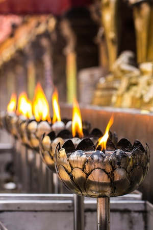 Vesak Bucha candle in Thai temple in Chiangmai thailand photo