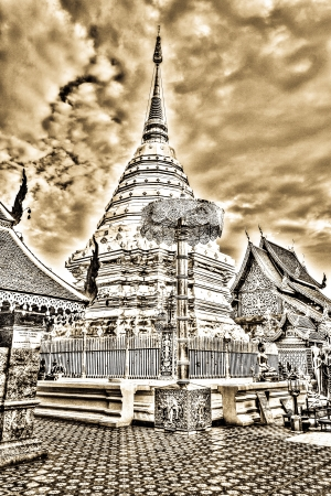 vintage - Wat Phrathat Doi Suthep temple in Chiang Mai, Thailand photo