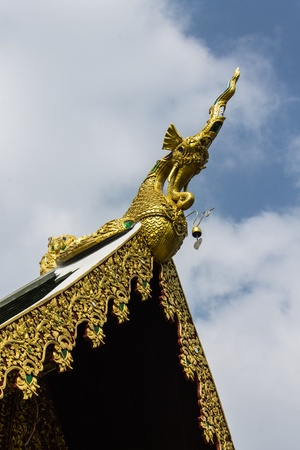 Hussadeeling Statues on Ubosot in Wat Sri Don Moon , Chiangmai Thailand photo