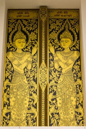 A door at Thai temple in Wat Kongkaw in Doi Lo , Chiangmai Thailand