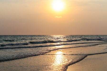 pacification: Beautiful evening sea landscape with sunset , Rayong Thailand