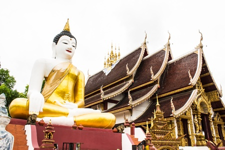 orison: big buddha image at golden triangle in Ubosot Wat Raja Mon Thian , Chiangmai Thailand