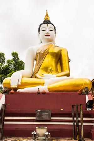 orison: big buddha image at golden triangle in Ubosot Wat Raja Mon Thian , Chiangmai Thailand