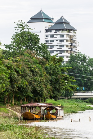 Two Boat moored in Ping river , Chiangmai Thailand photo