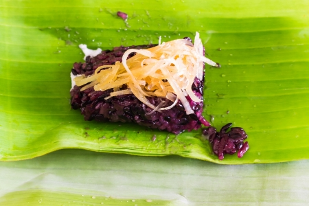 Thai style dessert on Banana Leaf photo