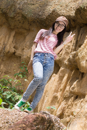 Thai Woman portrait standing near Cliff , Photo for Graphic photo