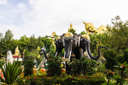 Erawan statue ,Big Reclining Buddha And Standing buddha in Wat Mokkanlan , Chomthong Chiangmai Thailand photo