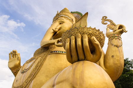Big Golden statue of Ganesha in Wat Mokkanlan , Chomthong Chiangmai Thailand photo