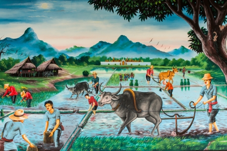 Thai farmer village, art on the wall photo