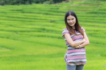 doi: Thai Woman Enjoy in Field Doi inthanon, Maeglangluang Karen villages Stock Photo