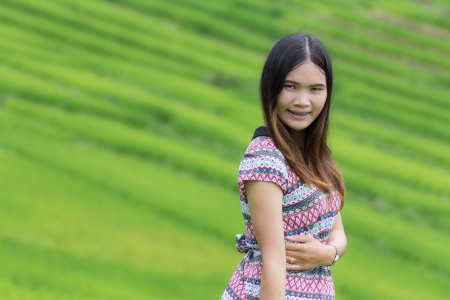 Thai Woman Enjoy in Field Doi inthanon, Maeglangluang Karen villages photo