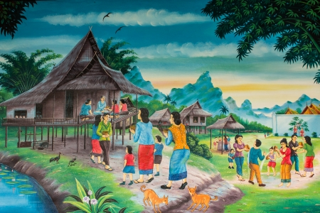 ソンクラン祭りのタイの文化 報道画像
