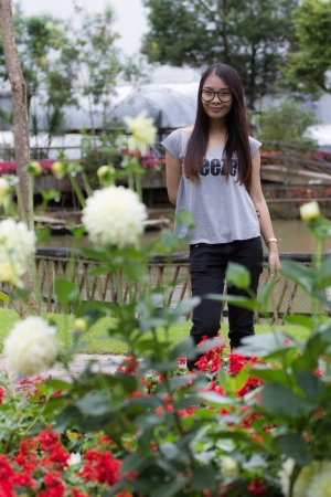 Thai Woman in the garden photo