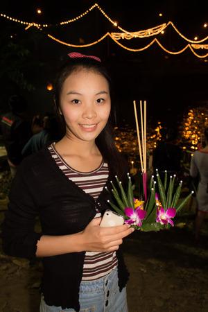 Loi Krathong Young Lady Wishing photo