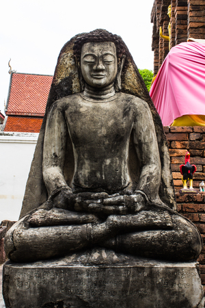 dvaravati: Buddha Statue And Old Pagoda, Wat Phra That Hariphunchai