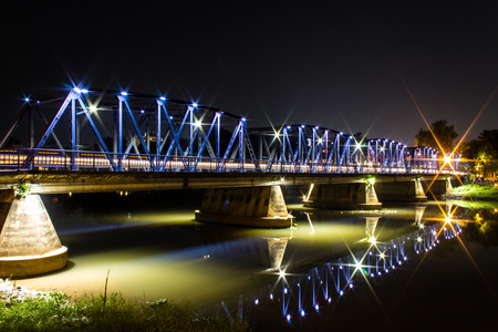 Iron Bridge At Night in Chiangmai Thailand photo