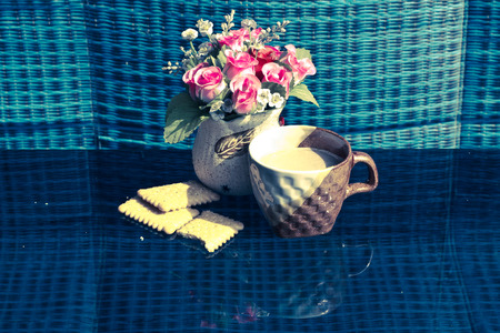 Still Life breakfast , Coffee Cup  White Butter and Rose Plastic photo