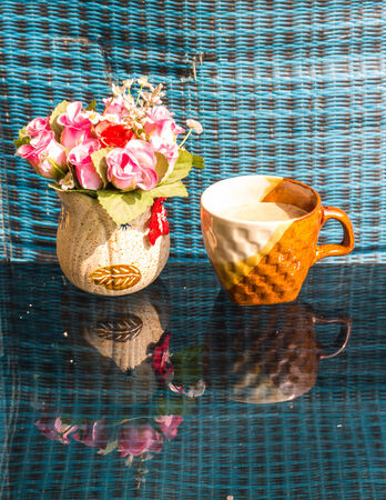 Still Life , Coffee Cup  White  Rose Plastic photo