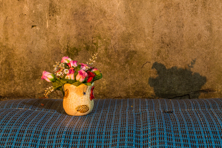 Centrepiece: Still Life - Flower Plastic in vase Stock Photo