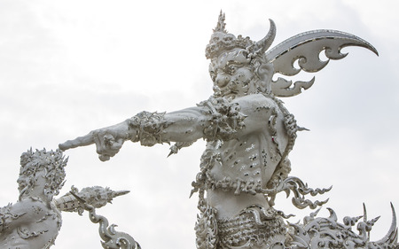 Giant Statue Decoration in Church of Wat Rong Khun, Chiangrai  Thailand photo