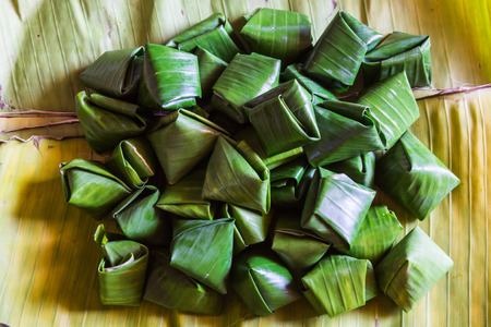 Dessert Banana leaf wrap, Thai style photo