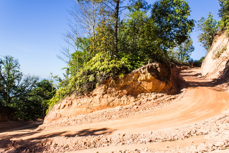 Round the bend mountain road in Thailand photo