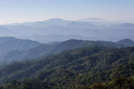 Morning View from Mountain, Pha Daeng National Park in Chiangmai Thailand photo