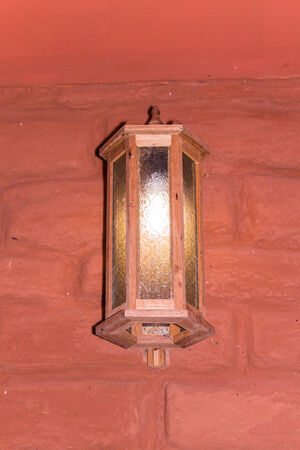 Wood Lantern on wall  Home Ground photo