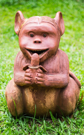 Thai sculpture of monkey photo