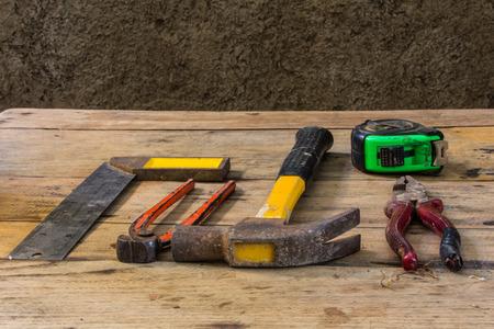 Still Life Assorted work tools on wood photo