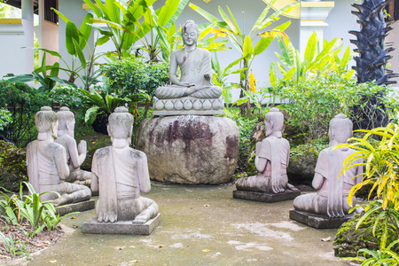 five petals: Buddha statues with five Brahmin statues