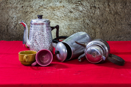 house ware: still life classic kettle with cup Stock Photo