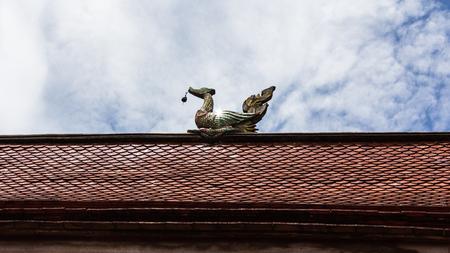 apex: Swan gable apex with sky Stock Photo