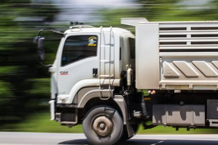 18 wheeler: Truck Panning camera Stock Photo