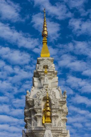 lamaism: white pagoda with beauty sky
