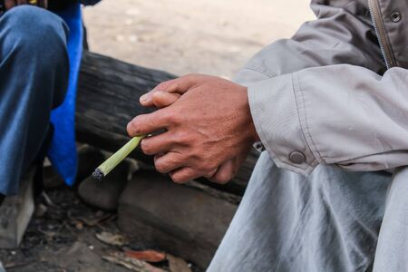 bad banana: people with cigarette thai style