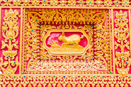 himmapan: rabbit Wall sculpture in Thai temple