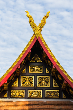 gable: gable apex with sky in thai temple lanna style
